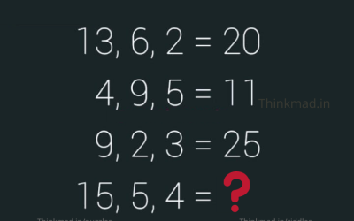 13, 6, 2 =20 4, 9, 5=11 9, 2, 3=25 then 15, 5, 4=? puzzles answer