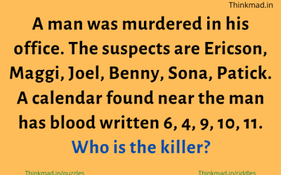 A man was murdered in his office, suspects are Ericson, Maggi, Joel, Benny, Sona, Patick. riddle answer