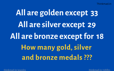How many gold, silver and bronze medals puzzle?
