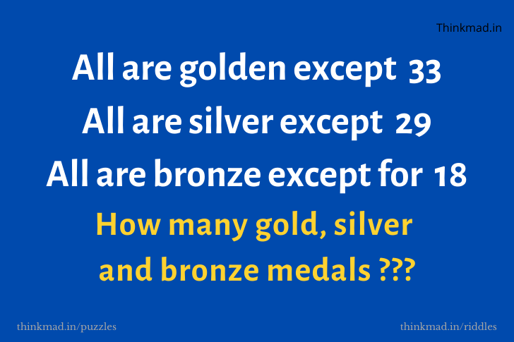 How many gold, silver and bronze medals puzzle answer with solution