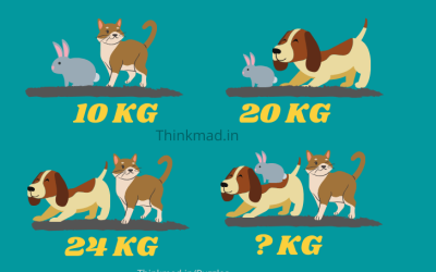 Cat and Rabbit weight is 10 kg, Dog and rabbit weight is 20 kg, Cat & dog weight is 24 kg. Cat rabbit dog weight puzzle with answer