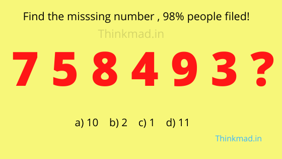 Missing number in the sequence puzzle 7 5 8 4 9 3? with answer