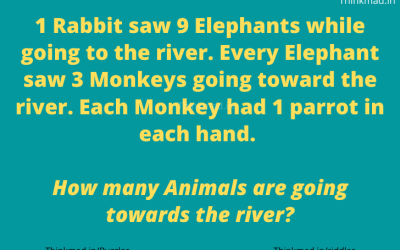 1 rabbit saw 9 elephants while heading off to the river riddle