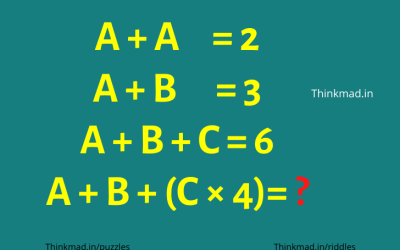 If A+A=2 , A+B+C=6, then A+B+C*4=? Mathematical puzzle answer