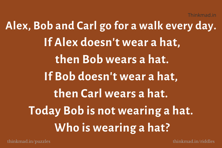 Alex, Bob and Carl go for a walk every day then Who is wearing a hat? -answer