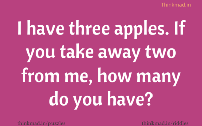 If there are 3 Apples and You Take Away 2 of them. How Many Do You Have?