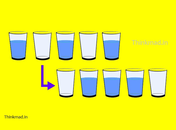 Six glasses in row puzzle-Move one cup to get this order.