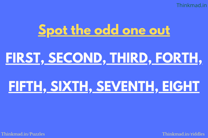 Spot the odd one out: which word is the odd one out first second third puzzle