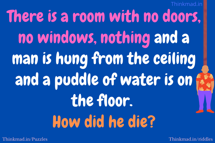 There is a room with no doors no windows nothing and a man is hung riddle with answer