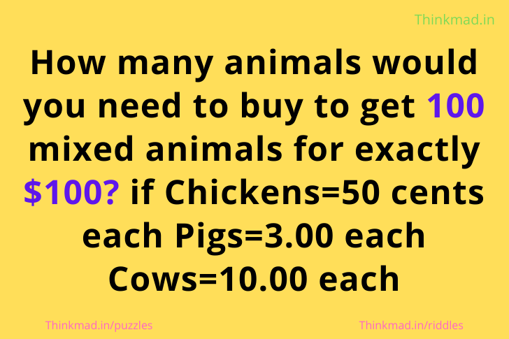 100 animals 100 dollars riddle answer