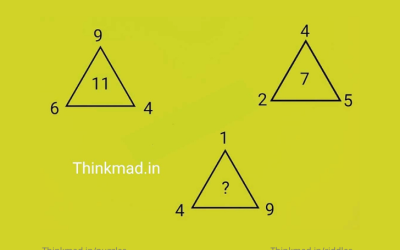 find the missing number in the triangle 6, 4, 9=11 4, 2, 5 =7 then 1, 4, 9=? puzzle answer with solution
