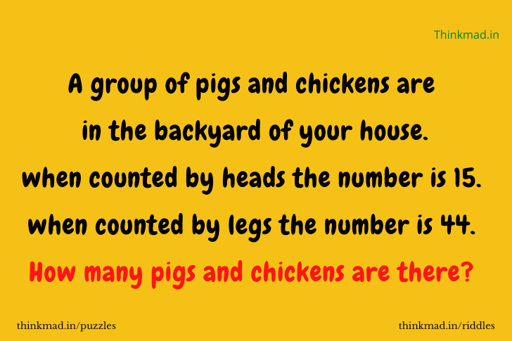 A group of pigs and chickens are in the backyard of your house. when counted by heads the number is 15. when counted by legs the number is 44. How many pigs and chickens are there?