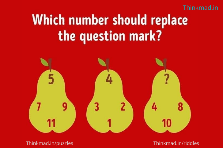 which number should replace the question mark 4 8 10 ? in the picture